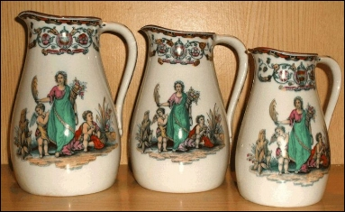 Beech and Hancock jugs in the POMONA pattern