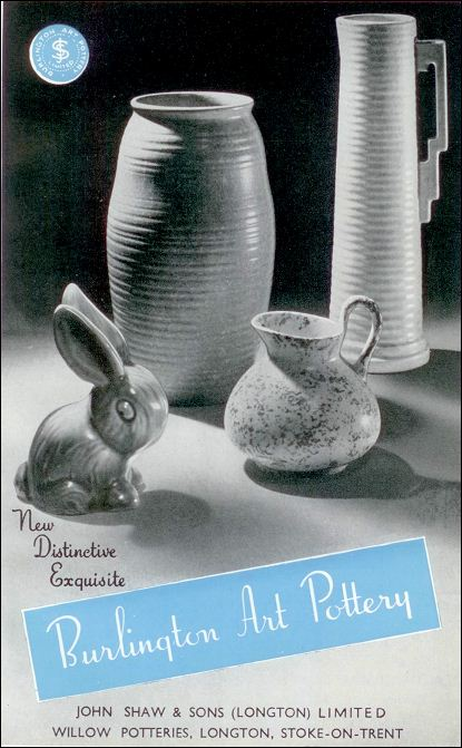 advert for Burlington Art Pottery, John Shaw