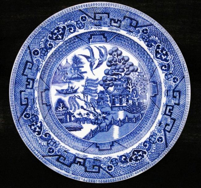 Dudson, Wilcox & Till plate in the Willow Pattern