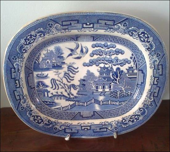 Hulse & Adderley platter in the traditional Willow Pattern