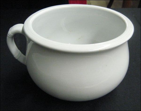 White Ironstone chamber pot by Livesley & Davis