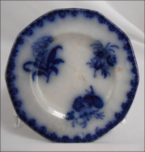 Mellor, Venables & Co. flow blue dish in the Eastern Flowers pattern