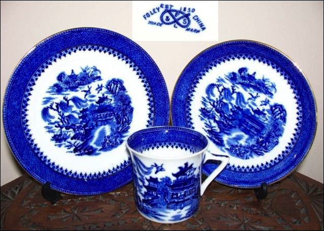 cup, saucer and side plate by Robinson & Son - in a Willow pattern