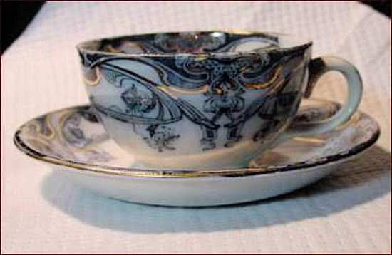 E. Steel & Co cup & saucer in the LUSITANIA pattern
