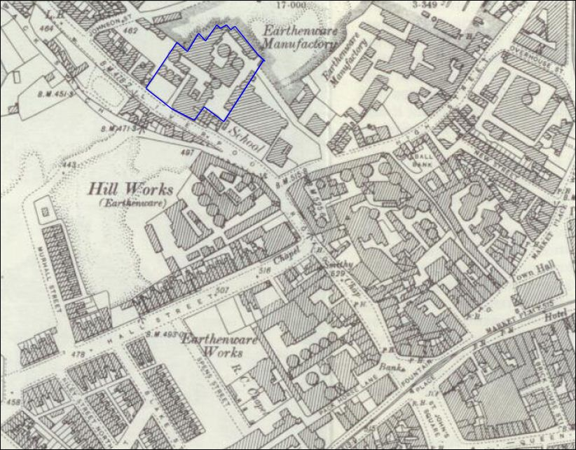 1898 map showing the Sytch Pottery on Liverpool Road (now called Weston Road) in Burslem, Stoke-on-Trent