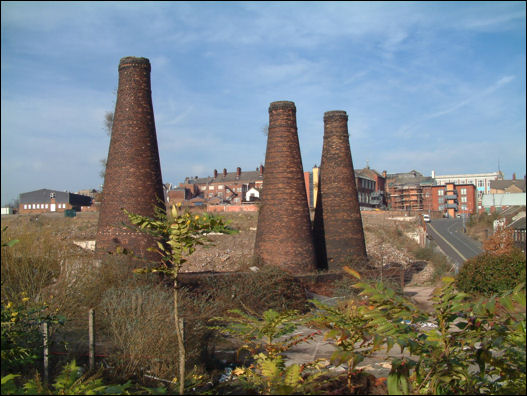 three remaining bottle kilns at Acme Marls, Burslem