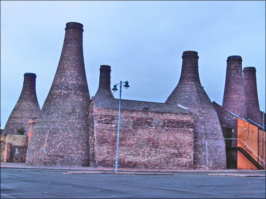 large bottle kilns seen from the rear of the Gladstone and Roslyn works
