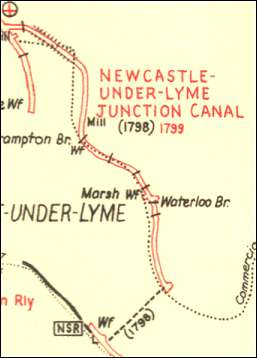 the route of the Newcastle-under-Lyme Junction Canal