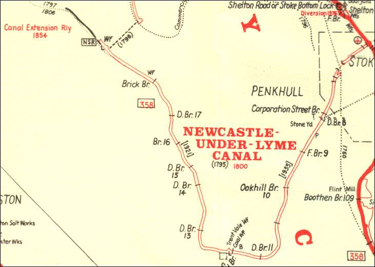 "Map from ""Canals of North Staffordshire"" by Richard Dean"
