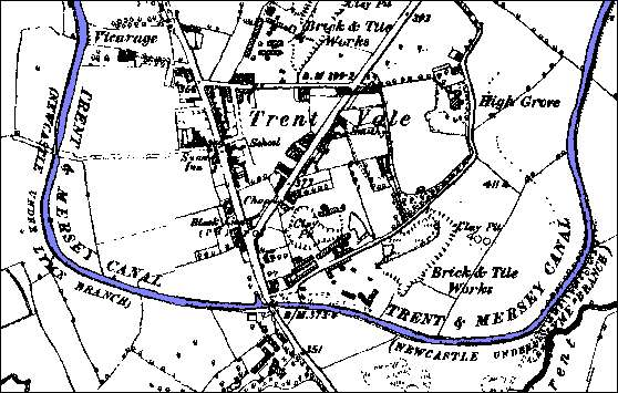 1890 OS Map showing Trent Vale section of the canal