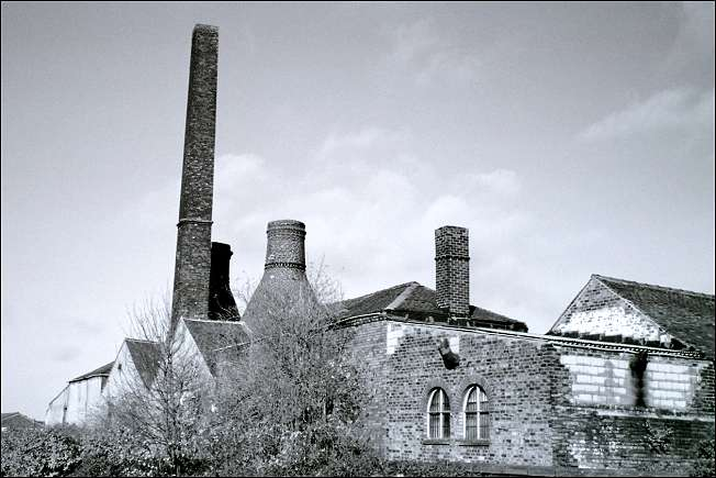 Rear of Albion Works showing two bottle ovens and chimney stack