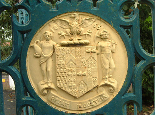 The arms of Longton Town on the cemetery gates