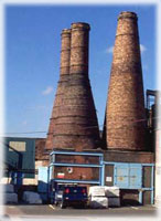 Calcining bottle ovens - C1900, brick with iron bands.