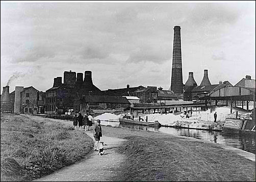 The Dale Hall and Albany Works on the canal side 1930 - 1950 (c.)