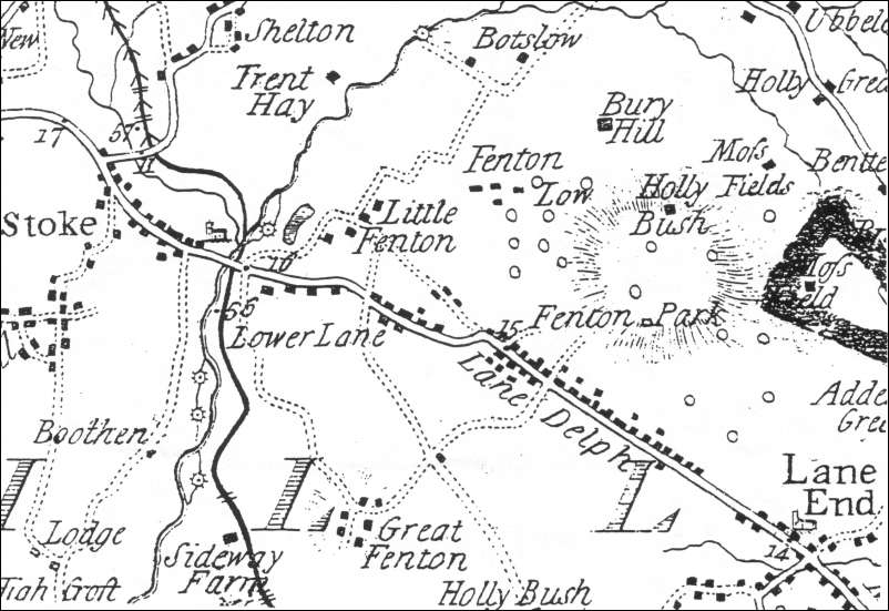 Extract from William Yates 1775 Map of Staffordshire - showing the Fenton  area