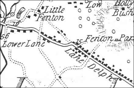 1775 map of Lower Lane of Fenton
