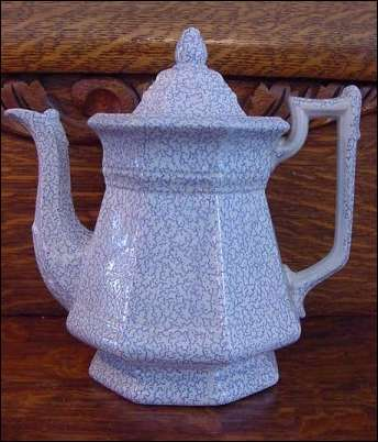 EARLY TRANSFERWARE TEAPOT. PATTERN IS VERMICELLI