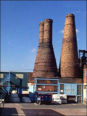 Calcining bottle ovens - c.1900, brick with iron bands