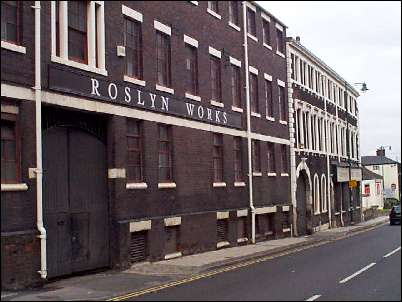 Frontage of the Roslyn Park Place works, the Gladstone Works are to the right