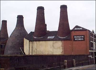 Bottle kilns of the Roslyn Park Place works,  the Gladstone kilns are to the left