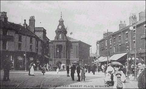 Postcard of second Town Hall and Market Place, (1910)
