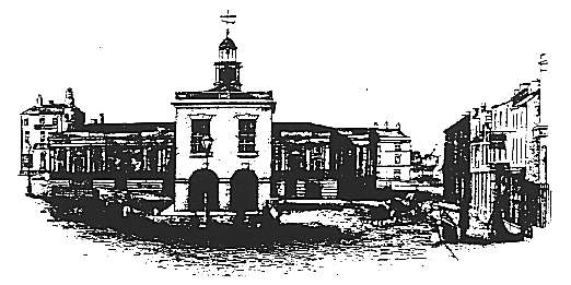 The illustration shows the first Town Hall in 1843.