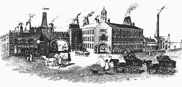 Wood's Fountain Place factory, Burslem in 1840