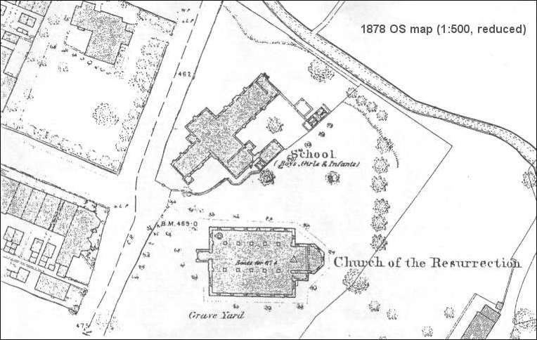 1878 OS map of the Church of the Resurrection, Dresden, (Longton)