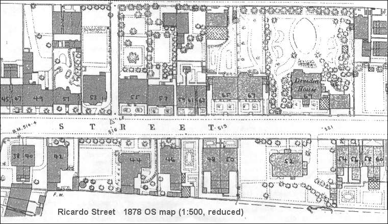 1878 OS map of Ricardo Street, Dresden, (Longton)