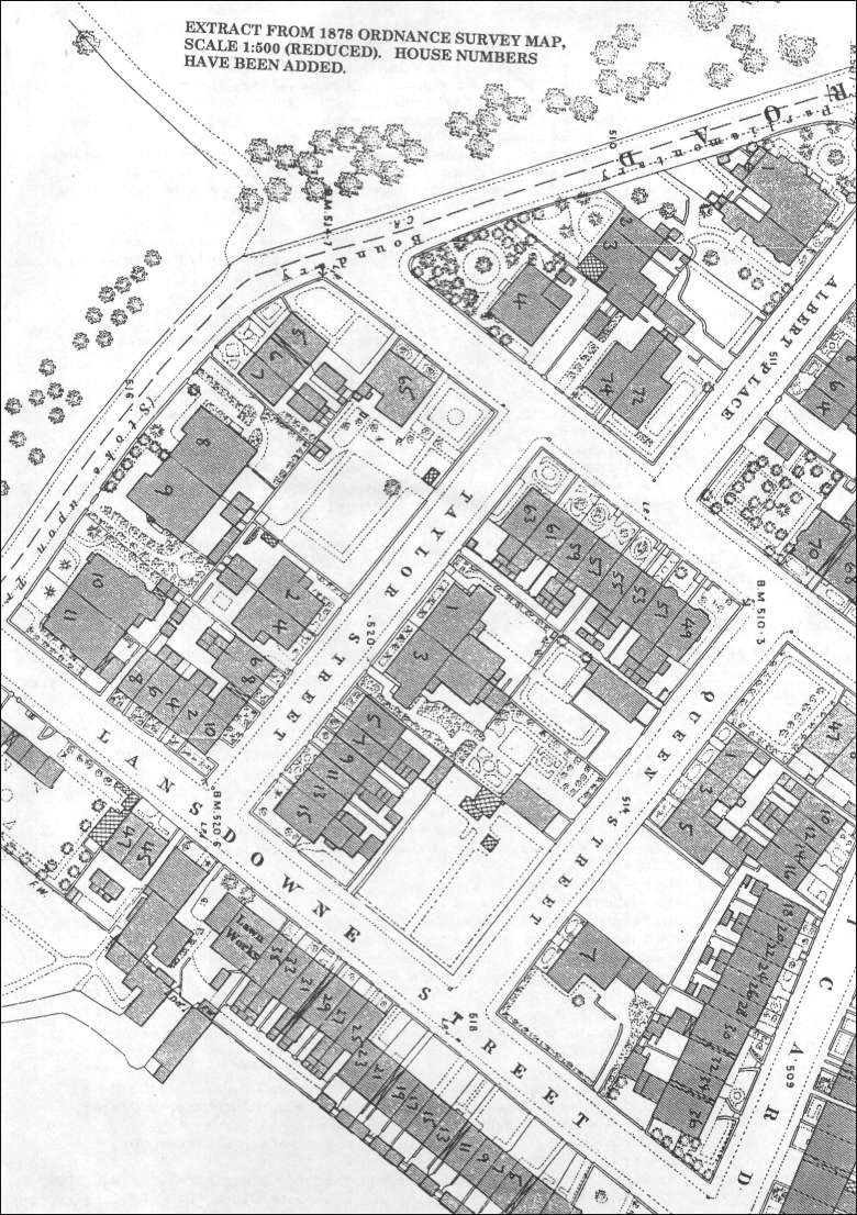 1878 OS map of Taylor, Queen & Lansdowne Streets, Dresden, (Longton)