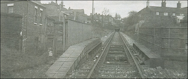 Loop Line looking to the back of Market street, Kidsgrove - where the station formerly stood