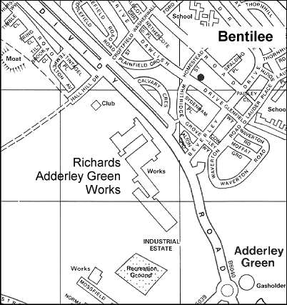 Street map showing the Adderley Green factory around 1995