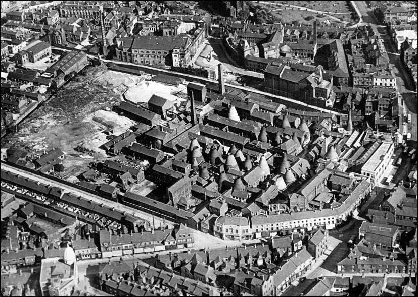 1927 aerial photo centred on Spode's pottery factory, Stoke